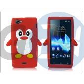 Sony xperia j (st26i) szilikon hátlap - 3d pinguin - piros PT-1423