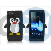 Sony xperia j (st26i) szilikon hátlap - 3d pinguin - fekete PT-1561