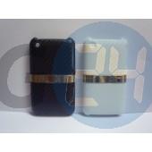 3g bőrös hátlapvédő ezüst csíkkal iPhone3/3GS  E000265