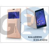 Sony xperia t3 (d5103) flipes tok - kalaideng iceland 2 series view cover - golden KD-0309