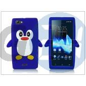 Sony xperia j (st26i) szilikon hátlap - 3d pinguin - kék PT-1563