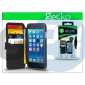 Apple iphone 6 flipes bőrtok - gecko wallet deluxe - black GG800354