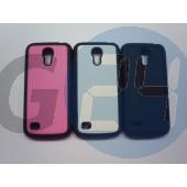 I9190 galaxy s4 mini bőrös hátlapvédő szilikon széllel - fekete Galaxy S4 mini  E004106