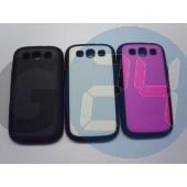 I9300 bőrös hátlapvédő szilikon széllel fehér Galaxy S3  E003583